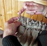 Mrs. Brown knitting