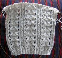 gilet lace: sleeve & stitch pattern