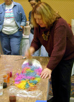 Judith painting with dye